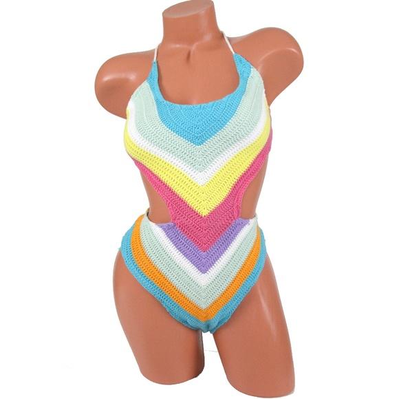 c5b15cf62a2c7 Bar III Swim | Rainbow Crochet One Piece Suit | Poshmark